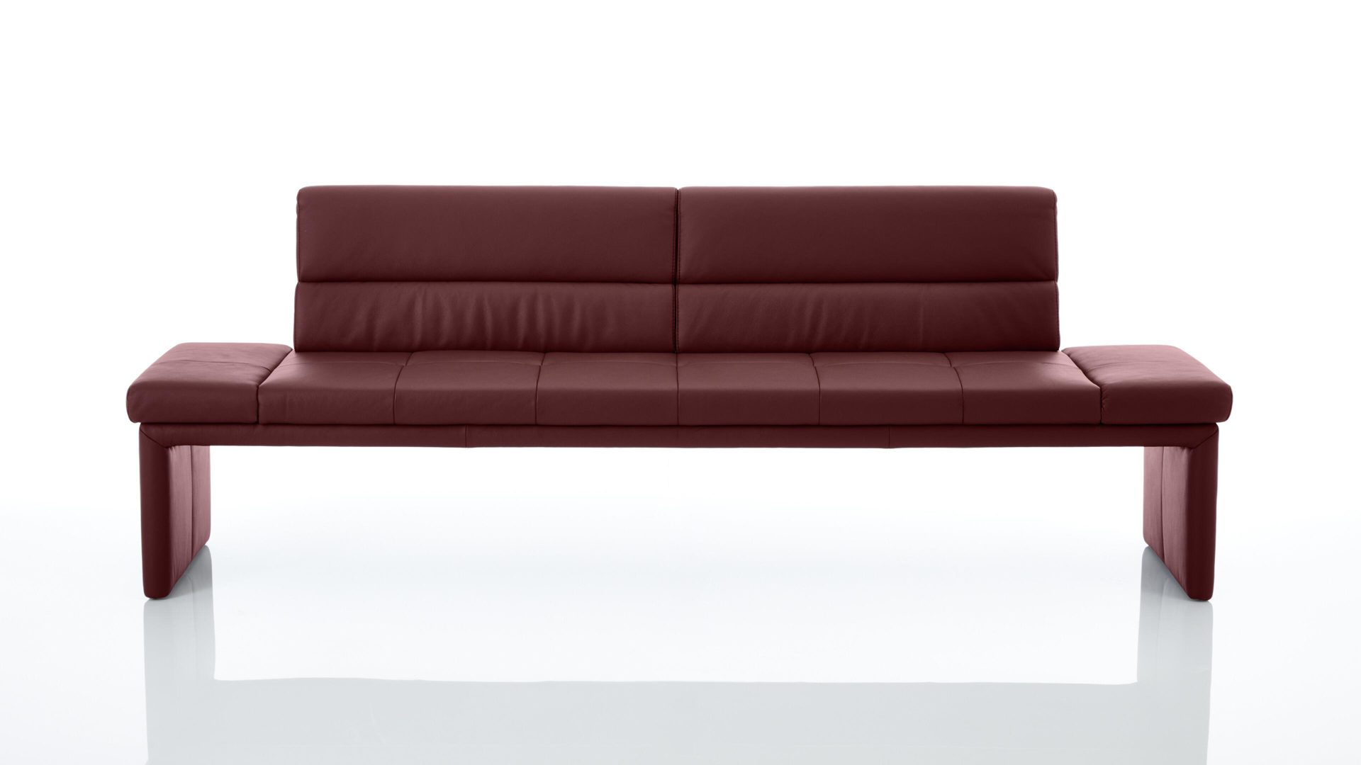 Polsterbank Interliving aus Leder in Rot Interliving Esszimmer Serie 5601 – Solobank bordeauxrotes LongLife-Leder Bronco Bordo 15 – Länge ca. 247 cm