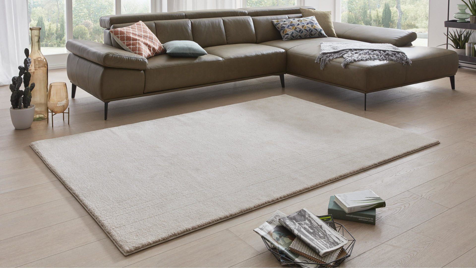 Webteppich Interliving aus Kunstfaser in Beige Interliving Teppich Serie L-8500 beige-mix – ca. 133 x 200 cm