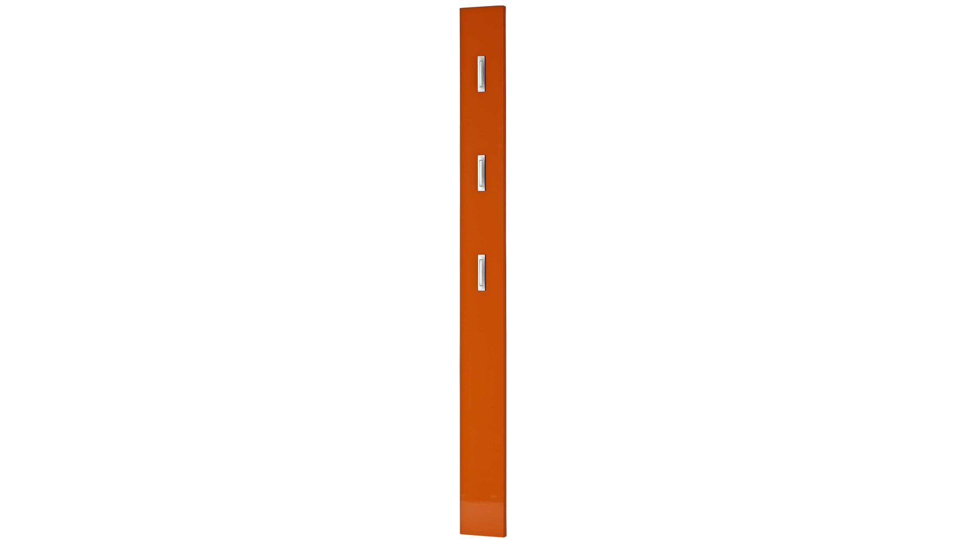 Wandgarderobe Germania aus Holz in Orange Wandgarderobe Colorado mit Garderobenhaken orangefarbene Hochglanzoberflächen - drei Klapp-Kleiderhaken